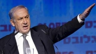El primer ministro israelí, Benajmin Netanyahu delivering a speech during a conference in Tel Aviv, 13 December